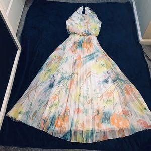 (4) Beautiful flower-print long pleated maxi dress